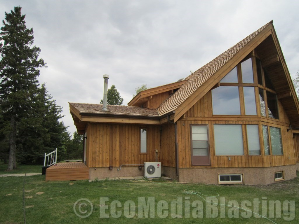 blasted log home